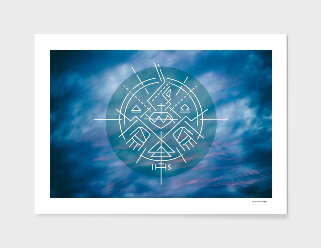 Jesus Christ Sacred Heart minimal symbol