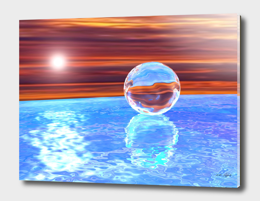 Glass sphere on the sea - 3D rendering