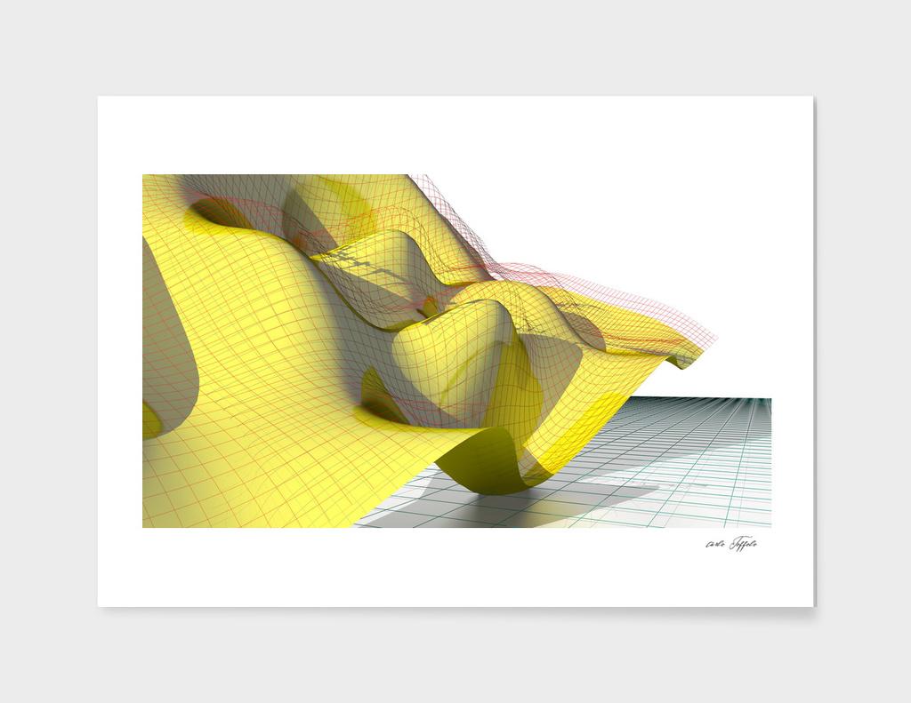 Waving math surface yellow-red