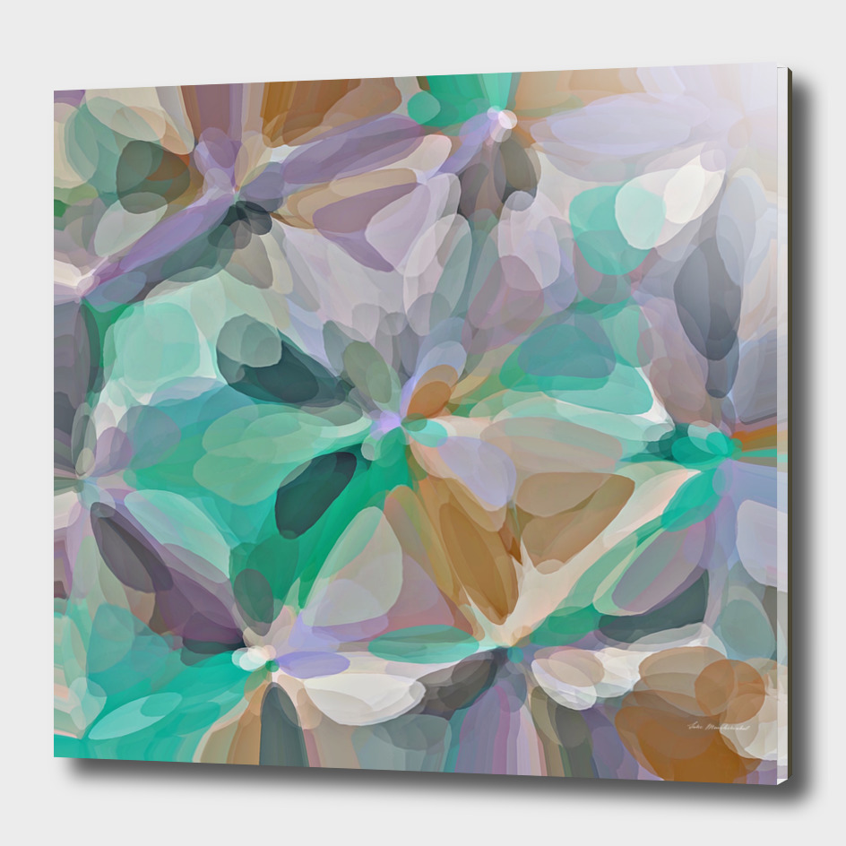 bubble circle pattern abstract in green brown purple