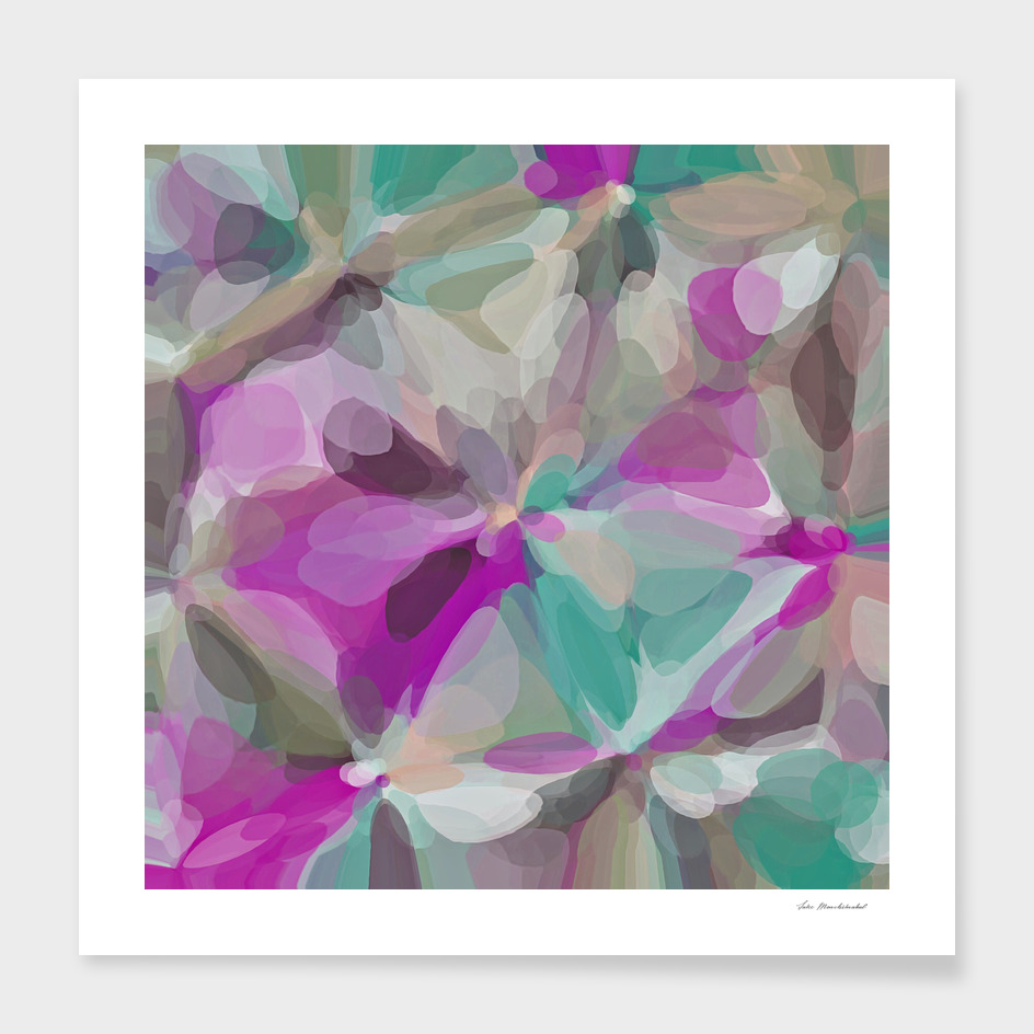 bubble circle pattern abstract in pink green brown