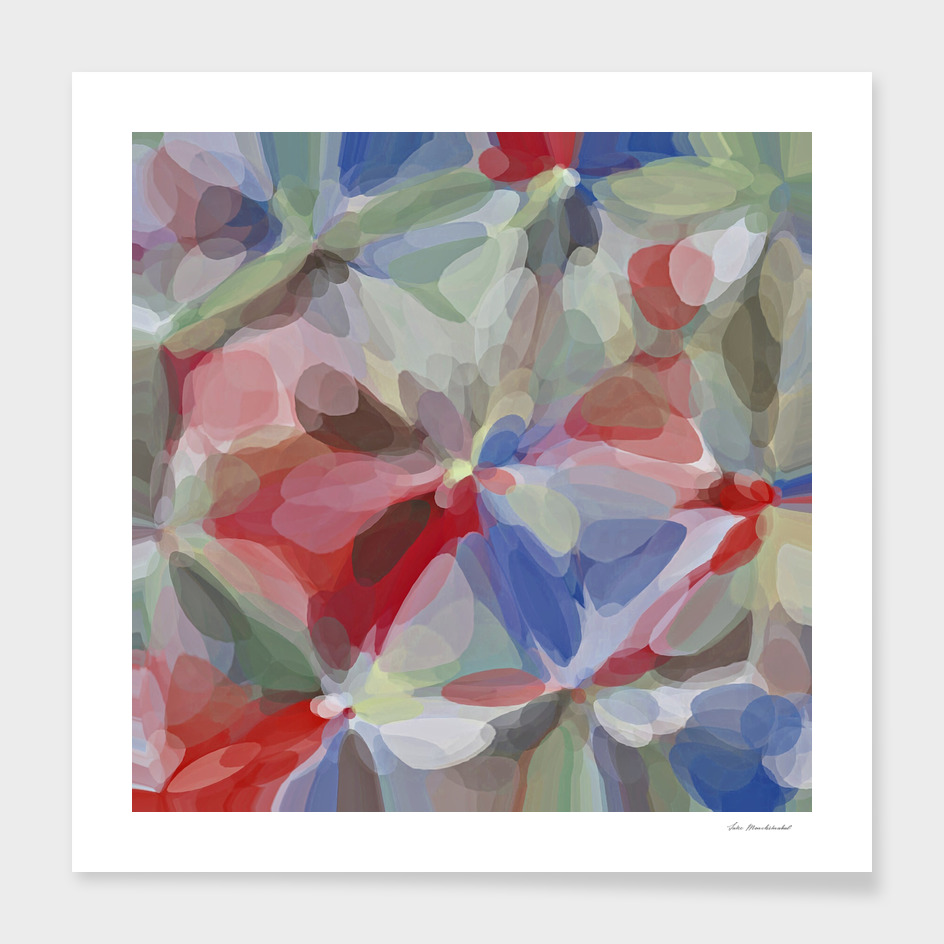bubble circle pattern abstract in red blue green