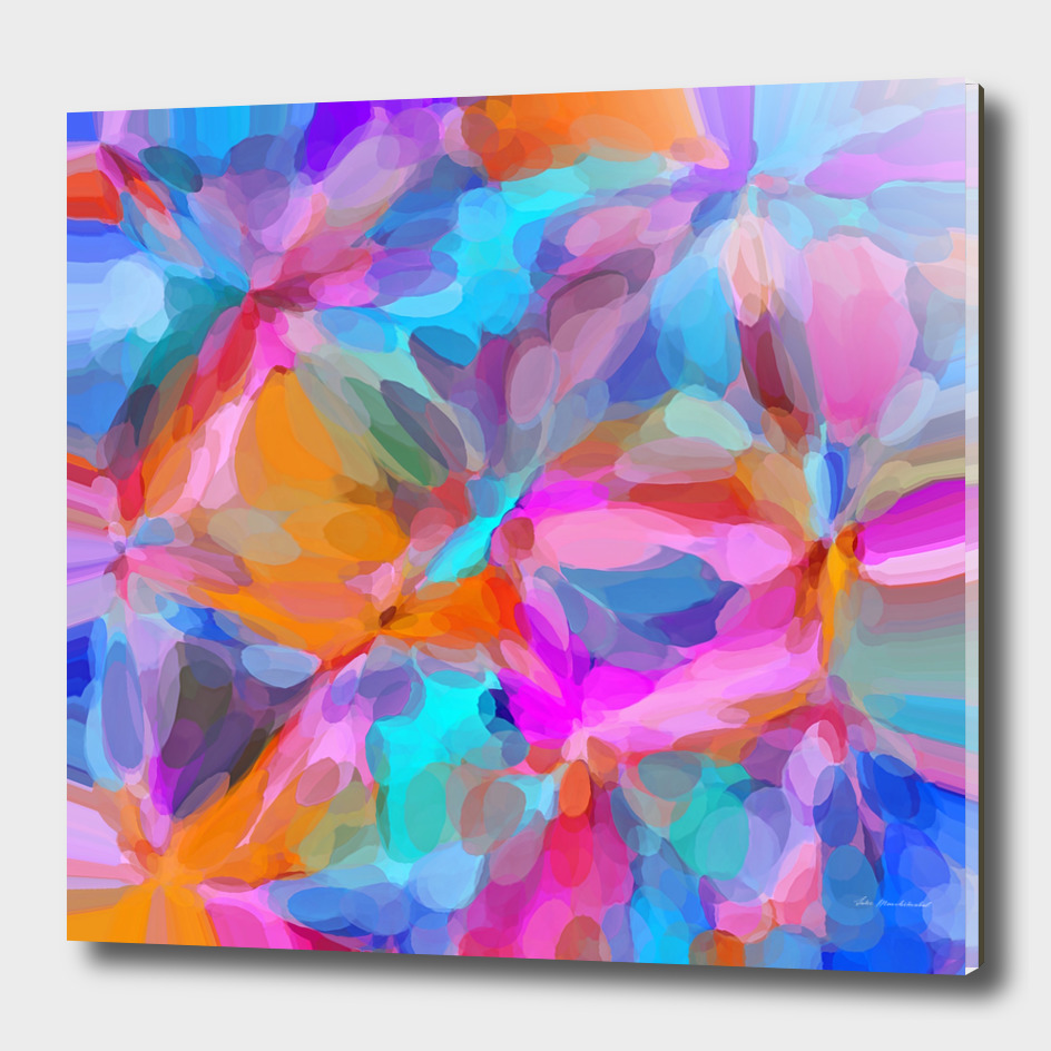 bubble circle pattern abstract in pink blue orange