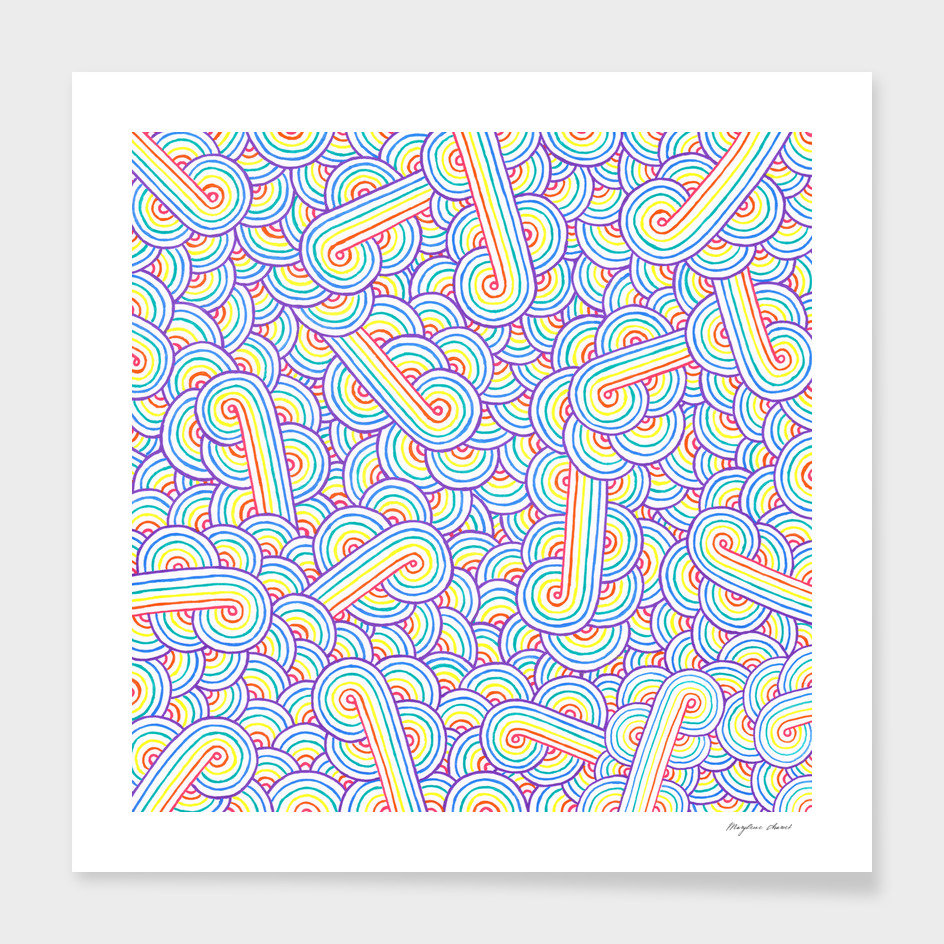 Rainbow and white swirls doodle