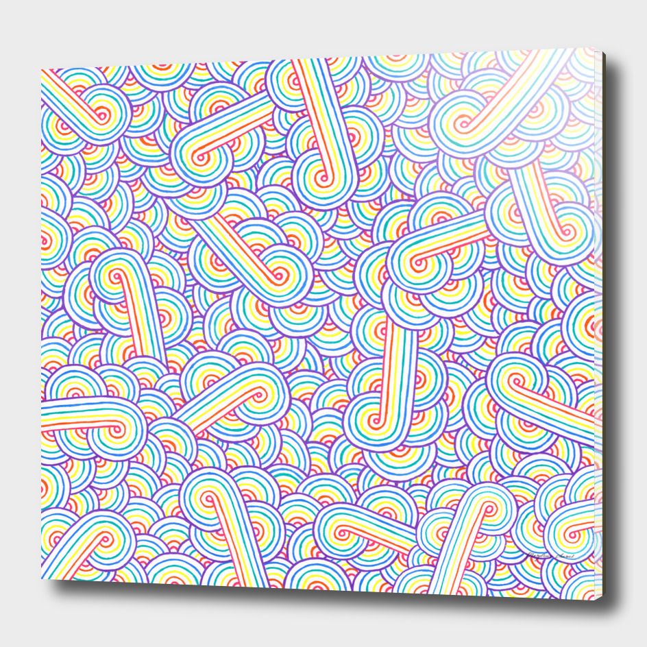 Rainbow and white swirls doodle