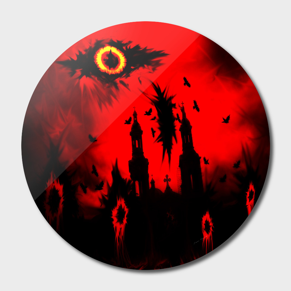 big eye fire black red night crow bird ghost halloween