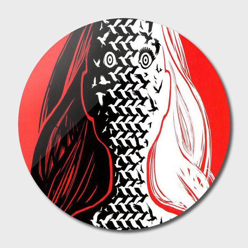 Face Hair Girl Surrealism Fantasy Ultra Bird Eye Black Red