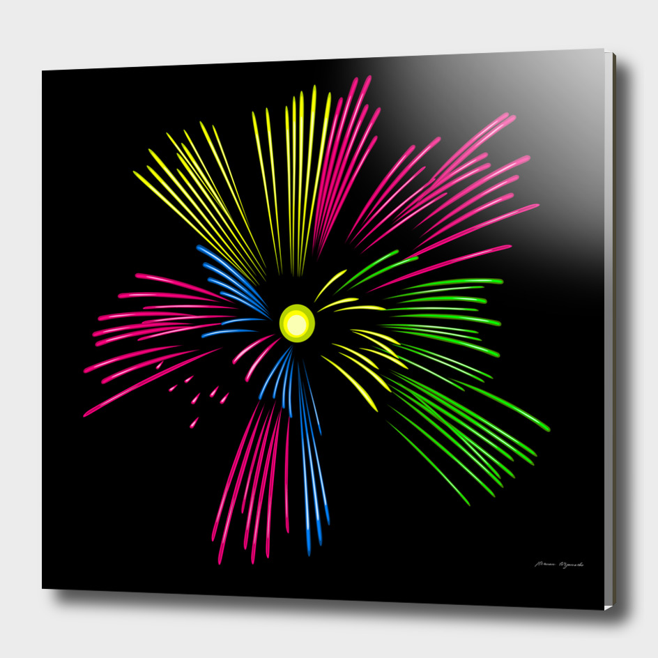 fireworks pink red yellow green black sky happy new year