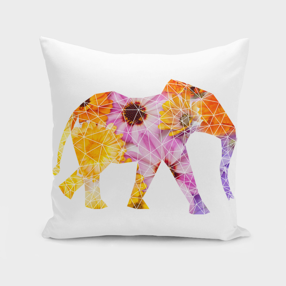 Geometrical elephant with flowers