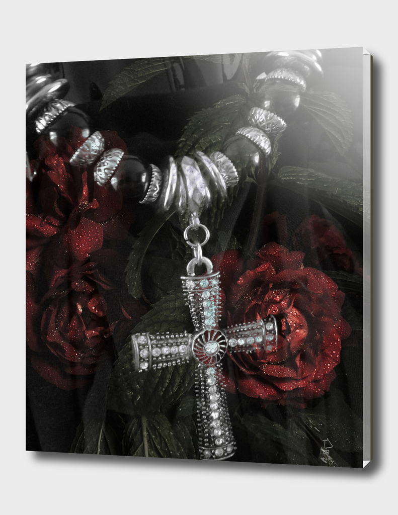 Cross and Roses Digital Collage Art