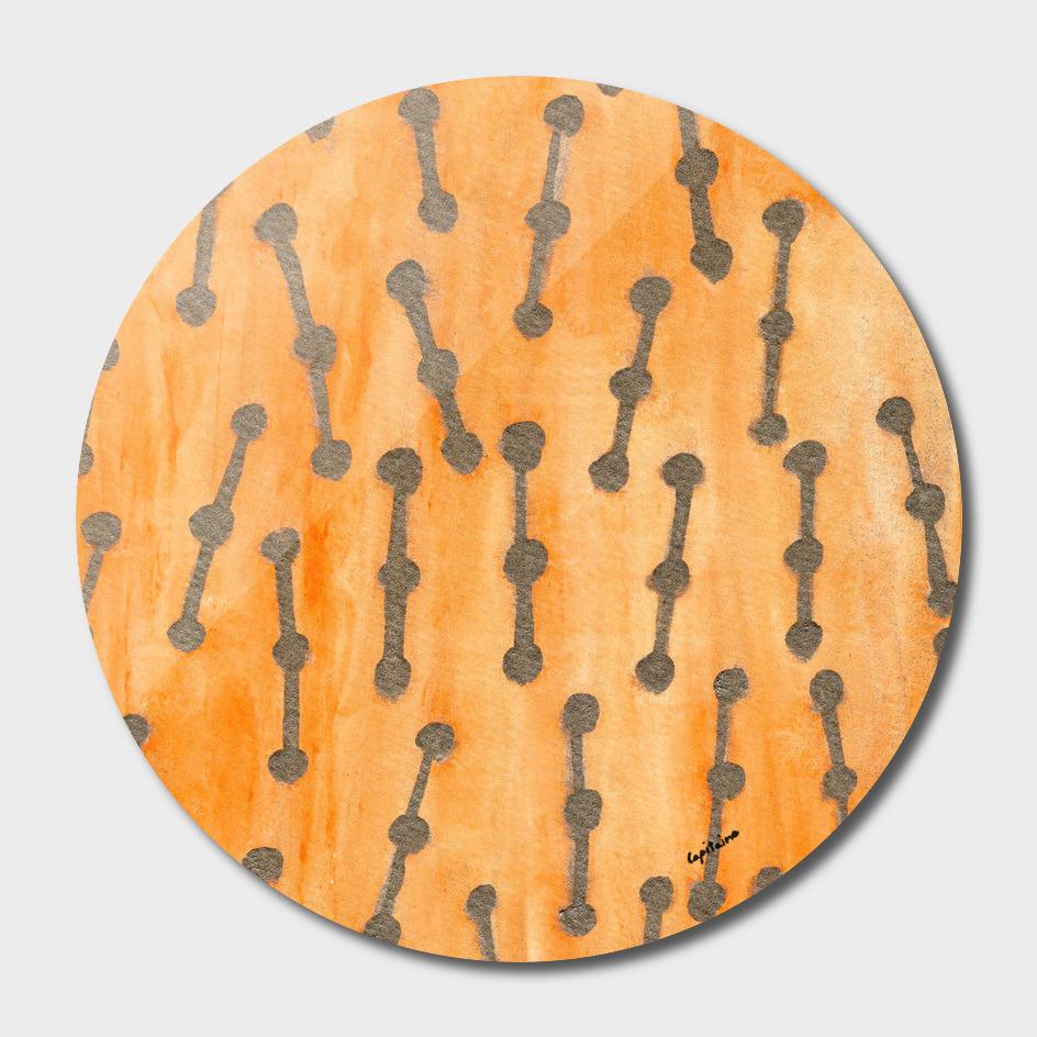 Golden Connected Points on Orange Pattern