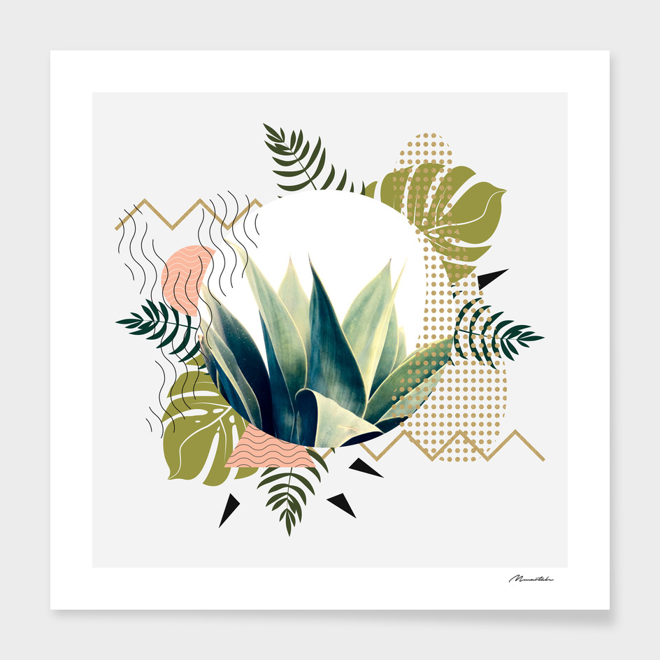 Abstract geometrical and botanical shapes I