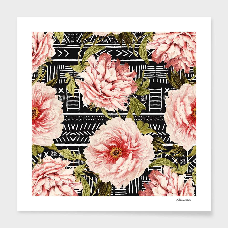 Flowering pink on drawn lines