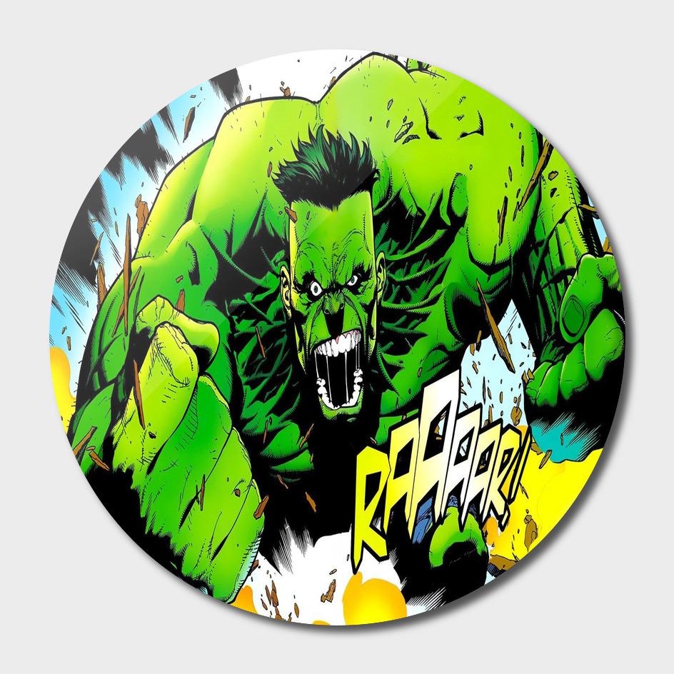superhero comics hulk green art
