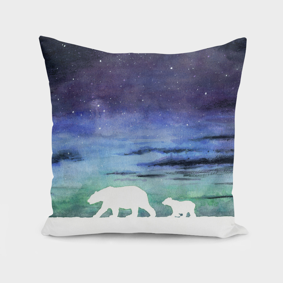Aurora borealis and polar bears (white version)