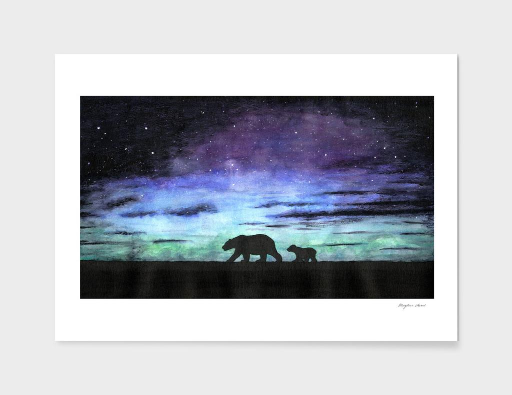 Aurora borealis and polar bears (black version)