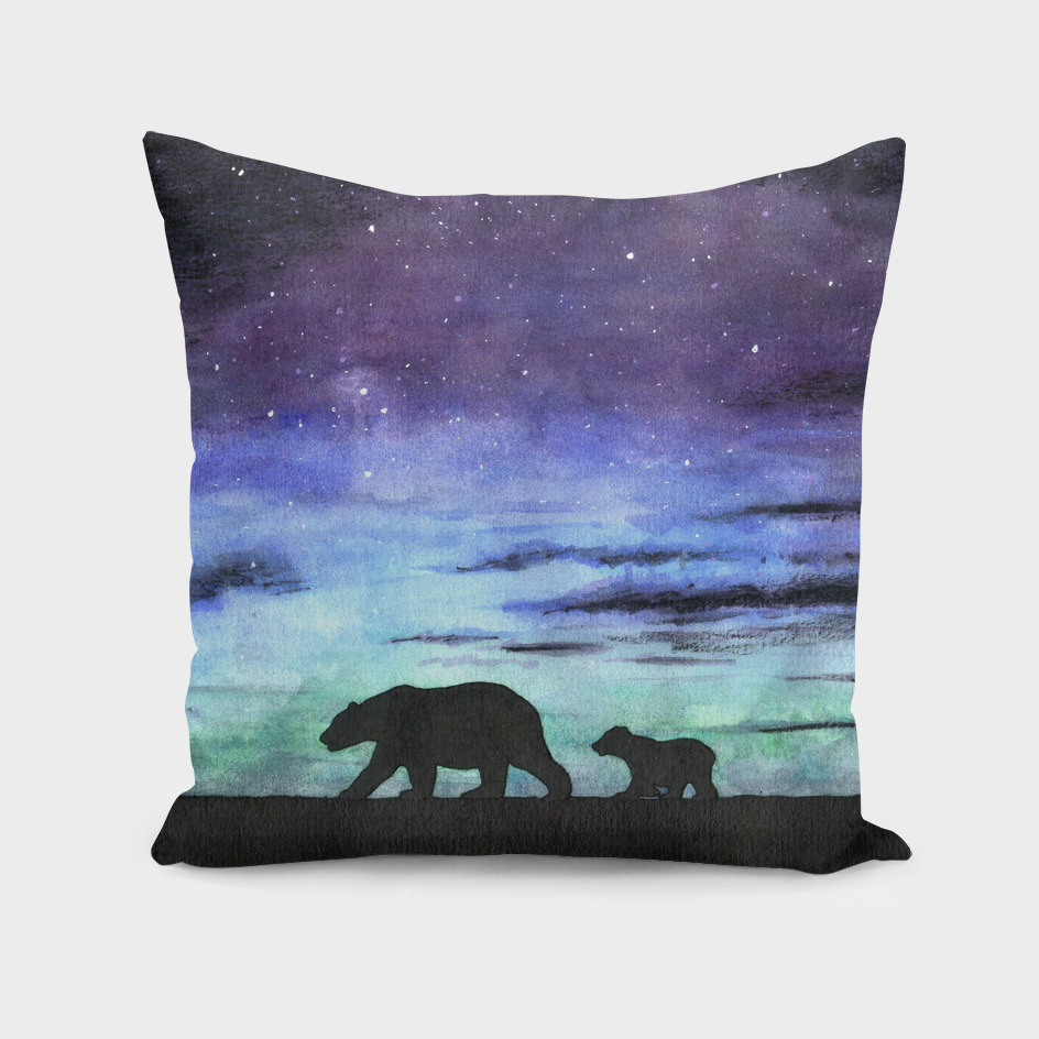 Aurora borealis and polar bears (black version)
