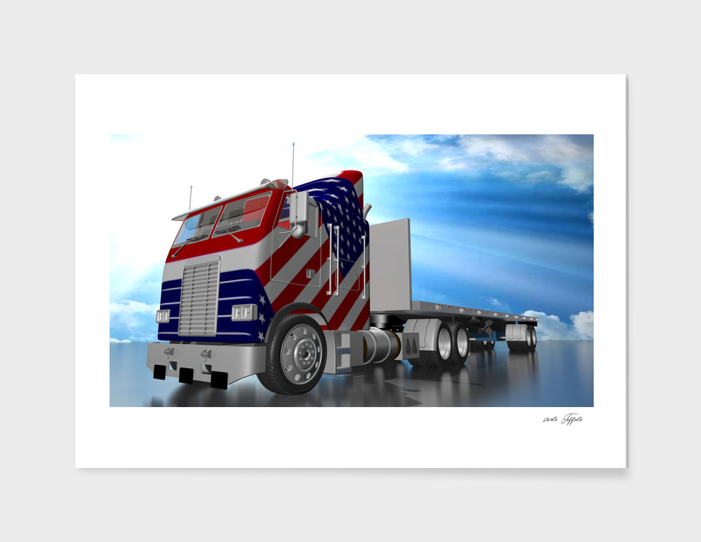 American truck under a sunny sky