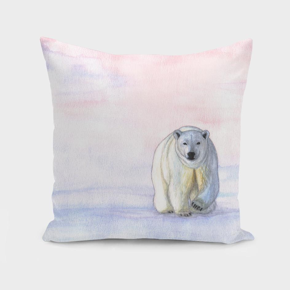 Polar bear in the icy dawn
