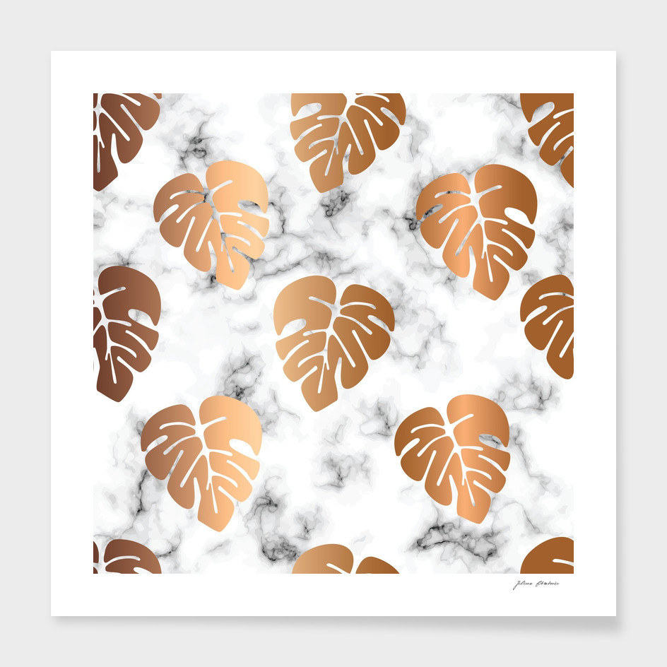 Golden Monstera on Marble Pattern 048