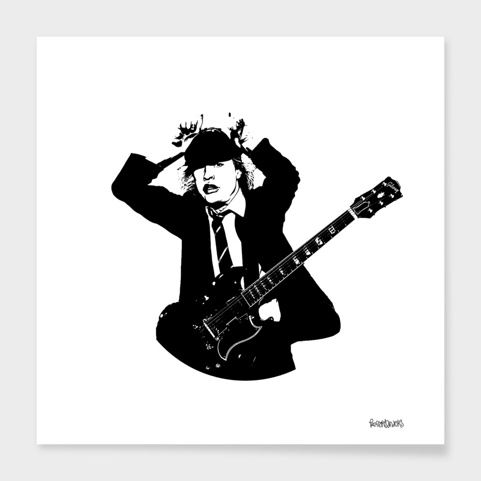 Angus Young Stencil