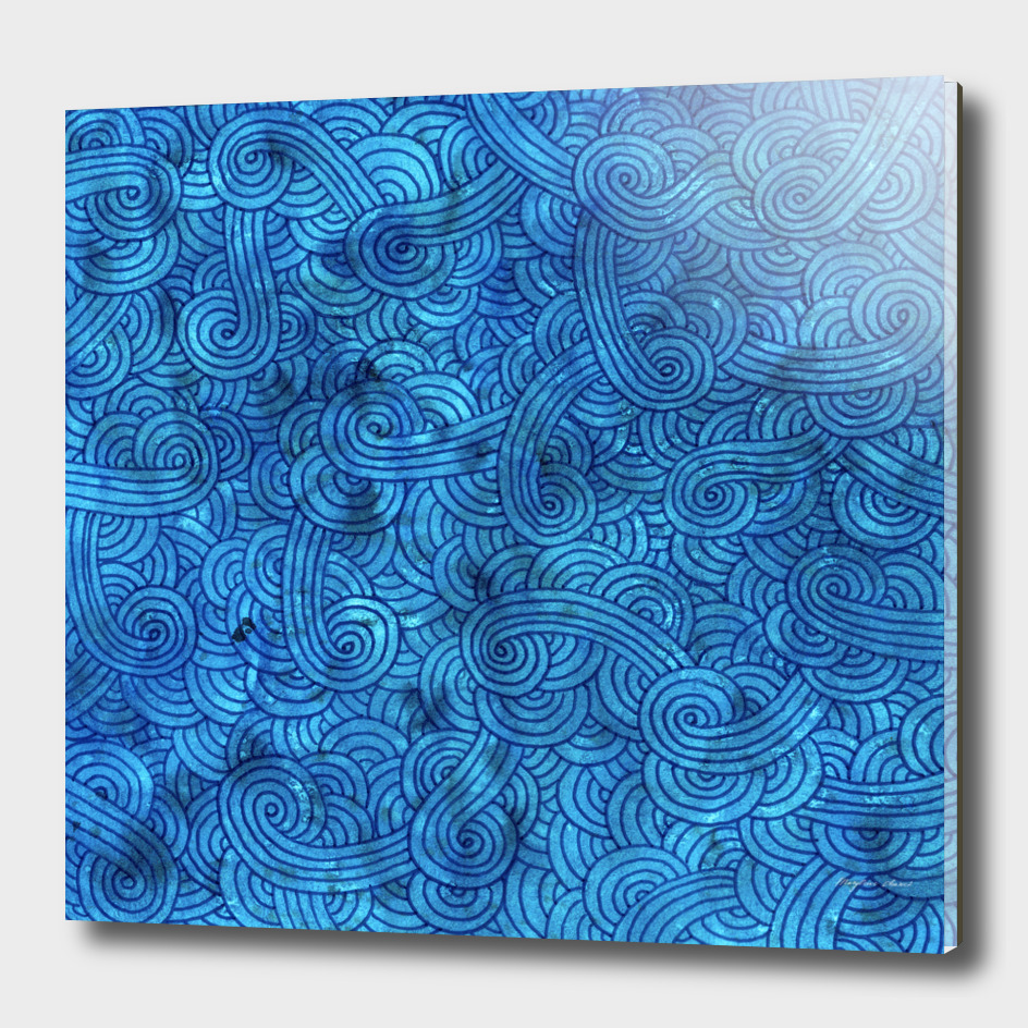 Teal blue swirls doodle