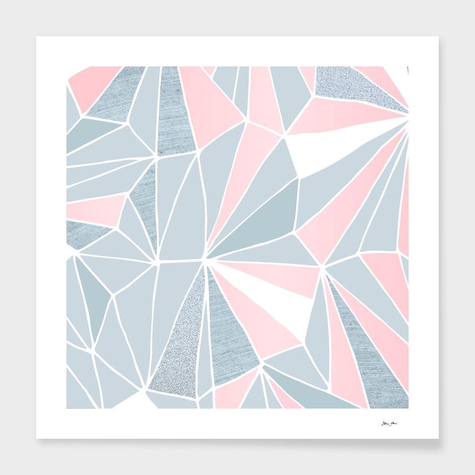 Blue/Grey & Pink Geometric Prism Pattern