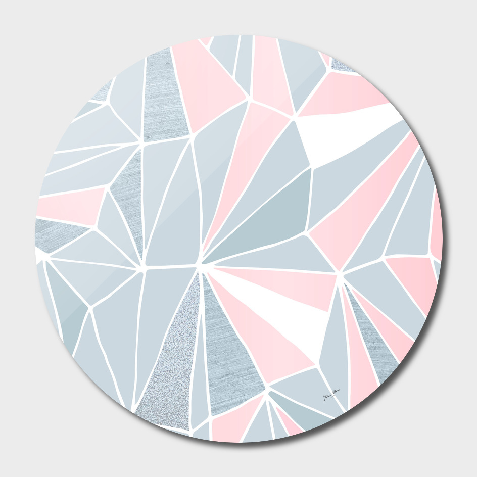 Blue/Grey & Pink Geometric Prism Pattern