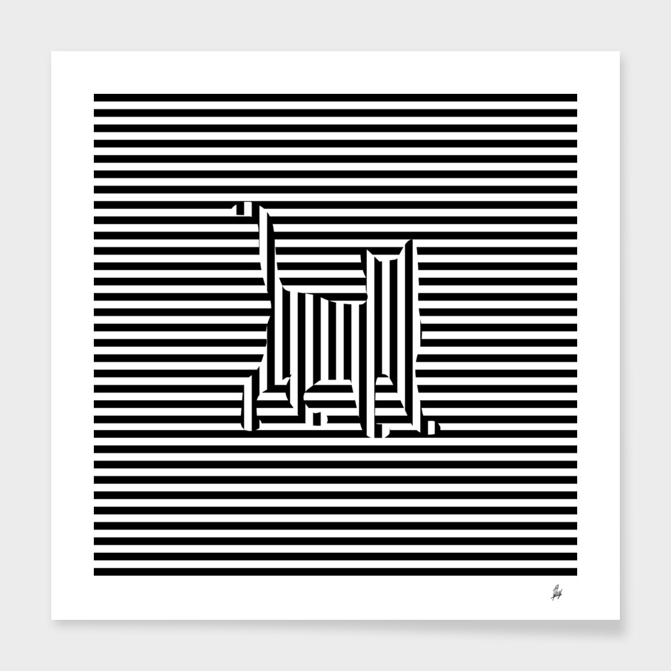 Cat on Stripes Graphic
