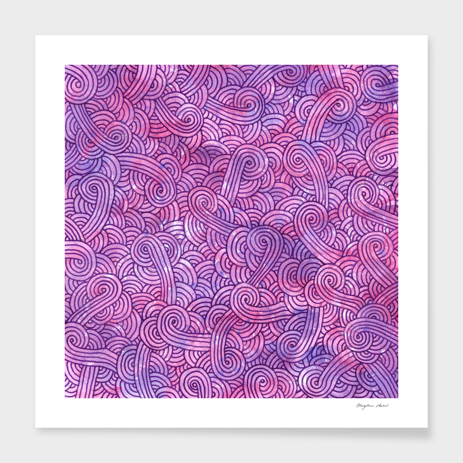 Hot pink and purple swirls doodle