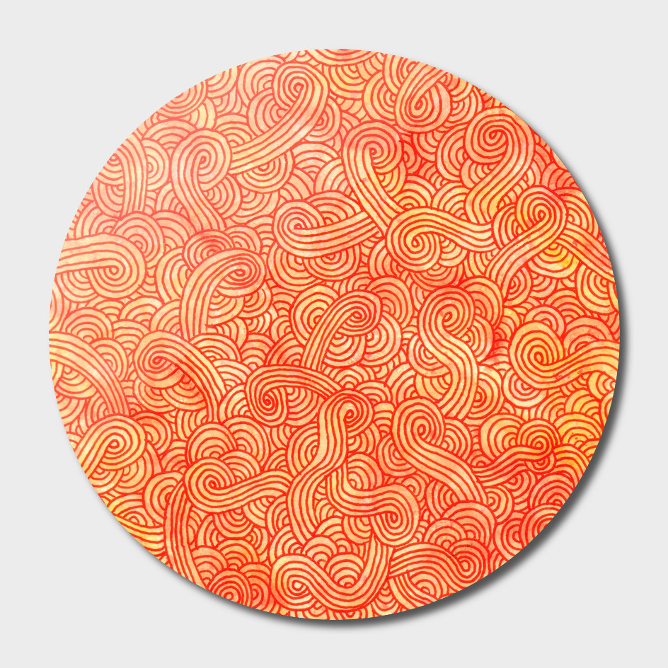 Orange and red swirls doodle