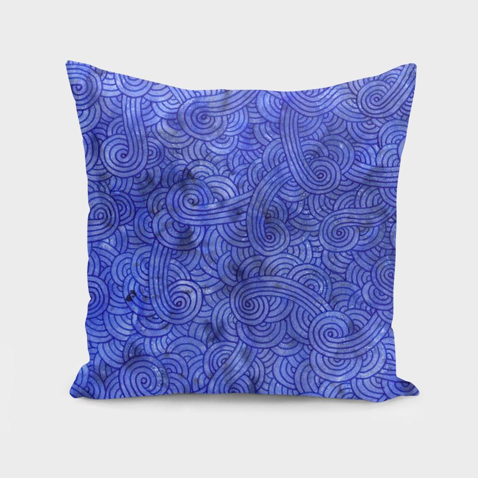 Royal blue swirls doodle