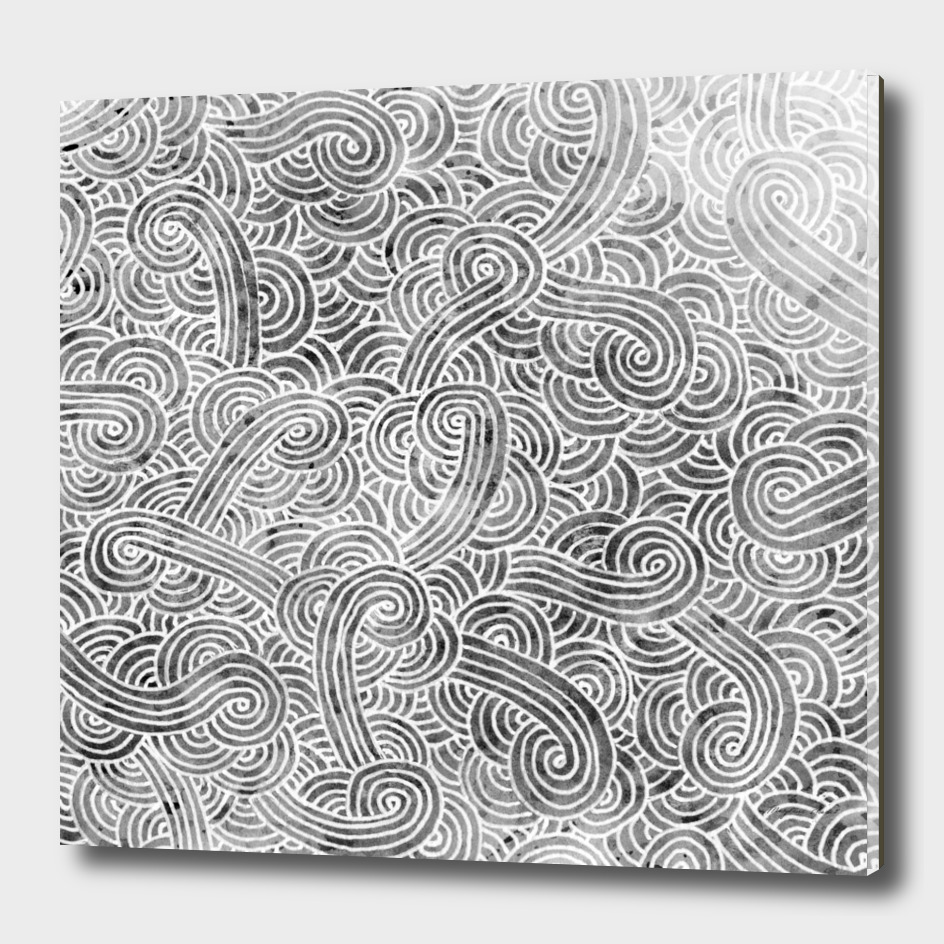 Grey and white swirls doodle