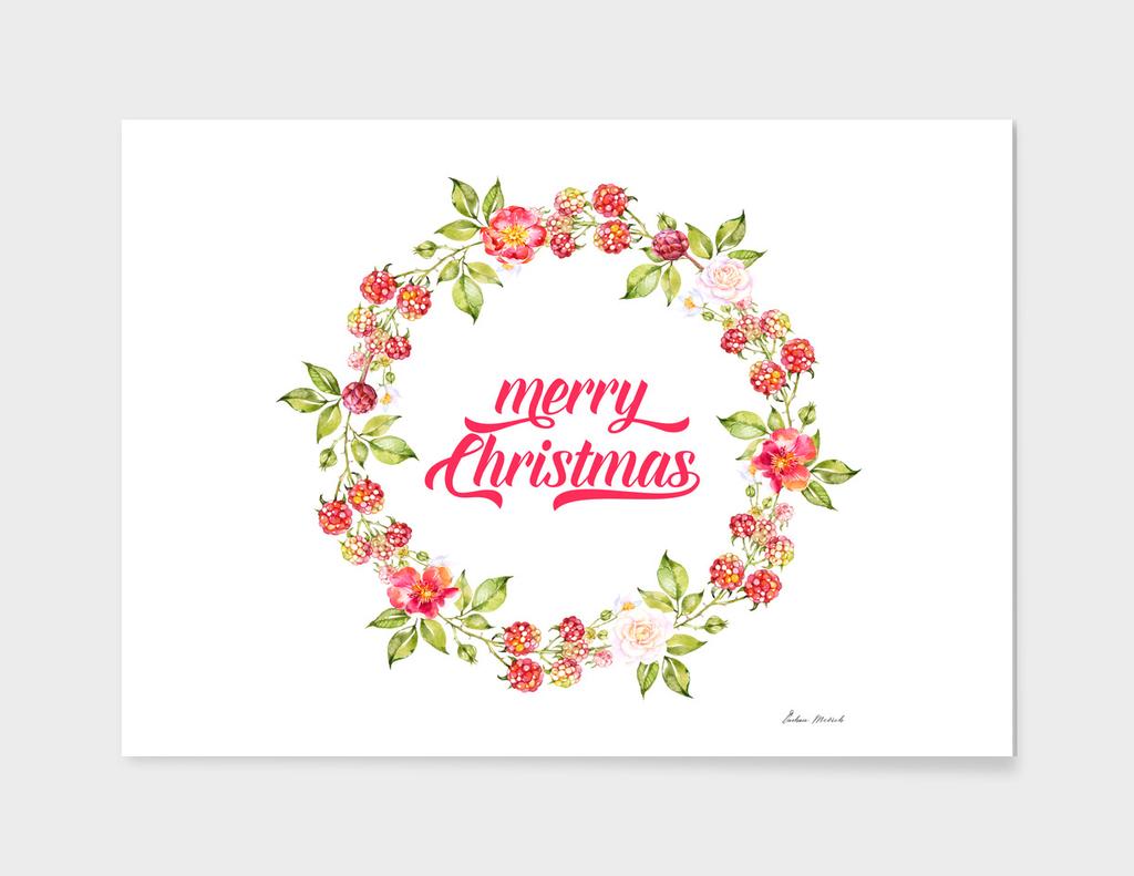 Merry Christmas Typography Christmas Berries Wreath