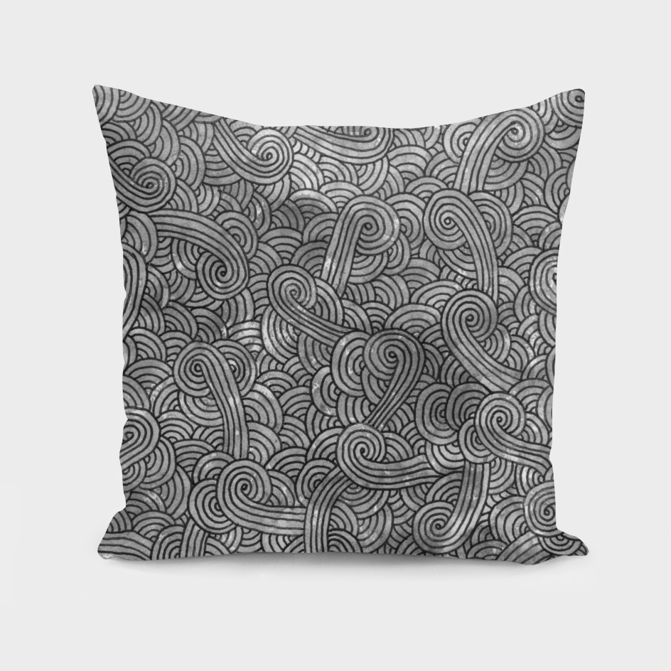 Grey and black swirls doodle