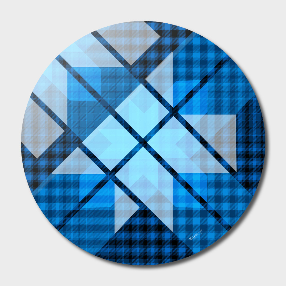 Abstract Geometric Blue Plaid Design