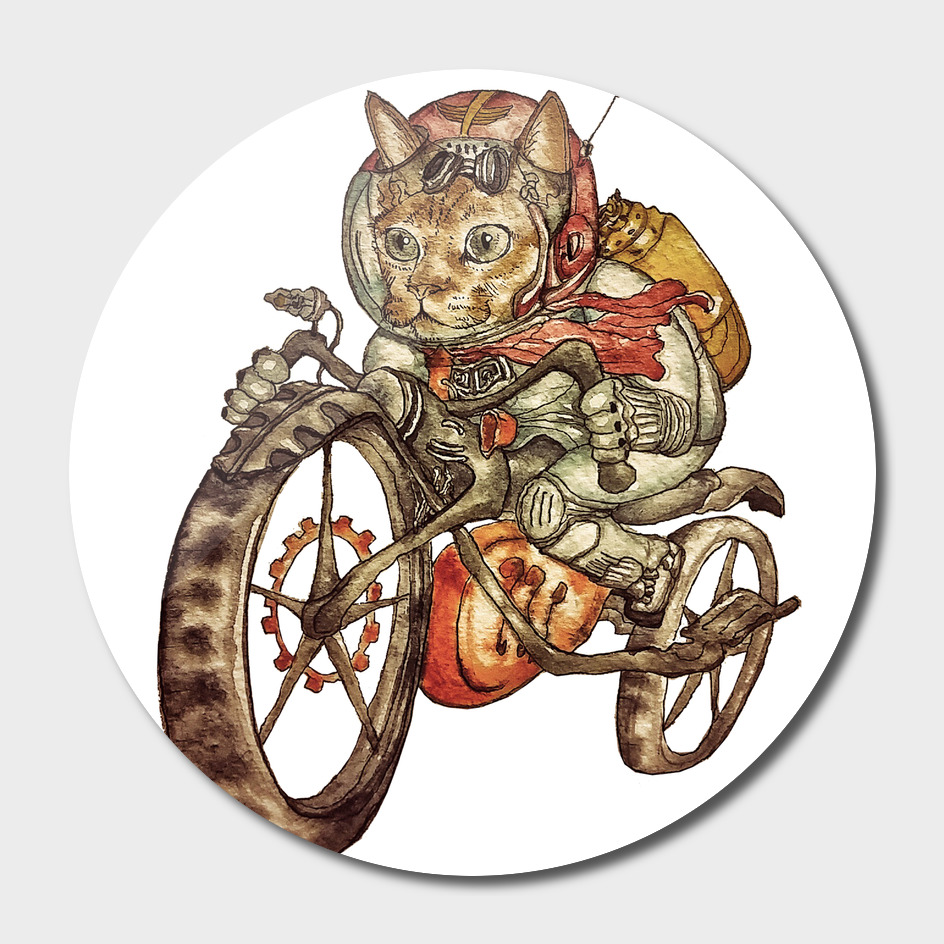Berserk Steampunk Motorcycle Cat