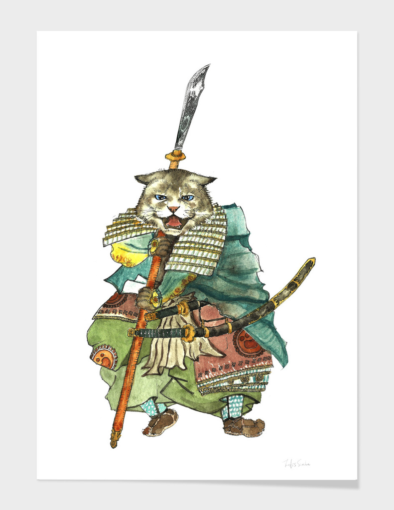 Japanese Samurai Cat with Two Swords