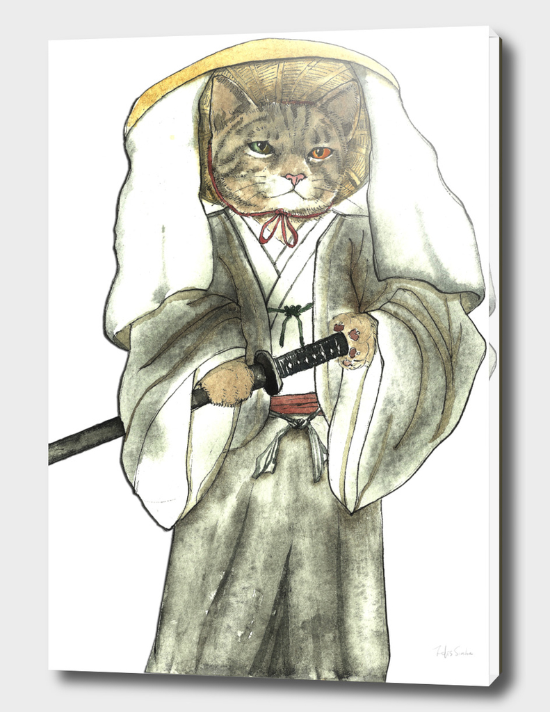Japanese Samurai Cat with One Green Eye and One Yellow Eye