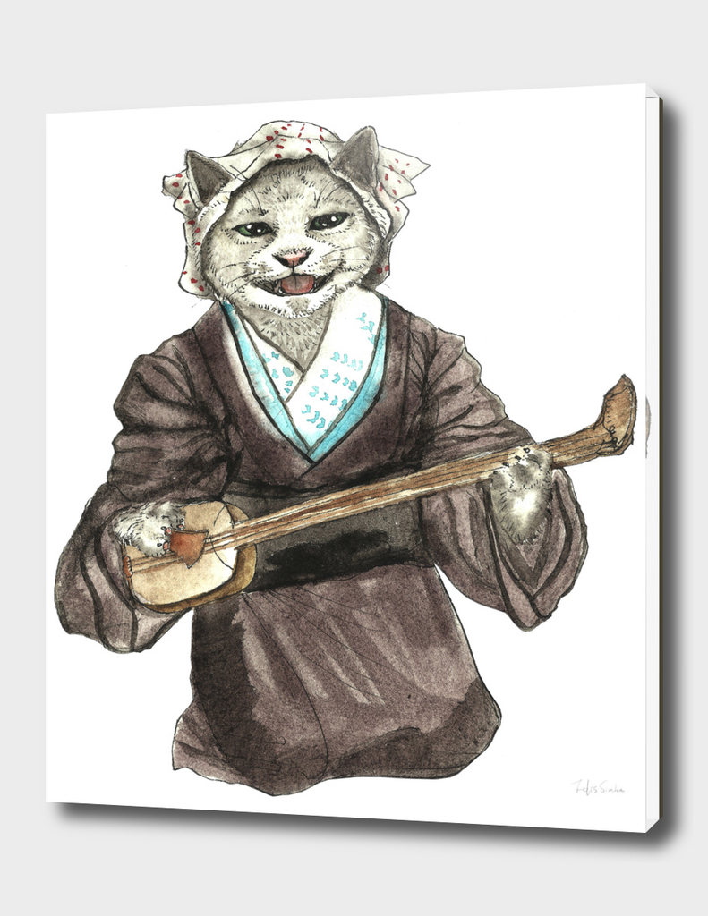 A Singing Cat Playing Samisen