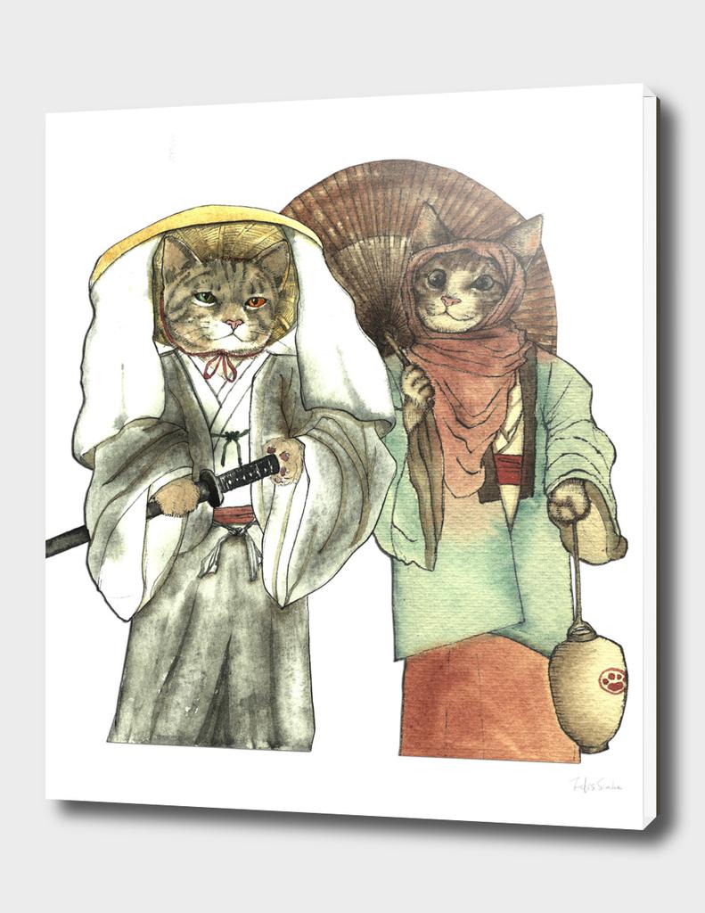Samurai Cat and Japanese Umbrella Cat with Lantern