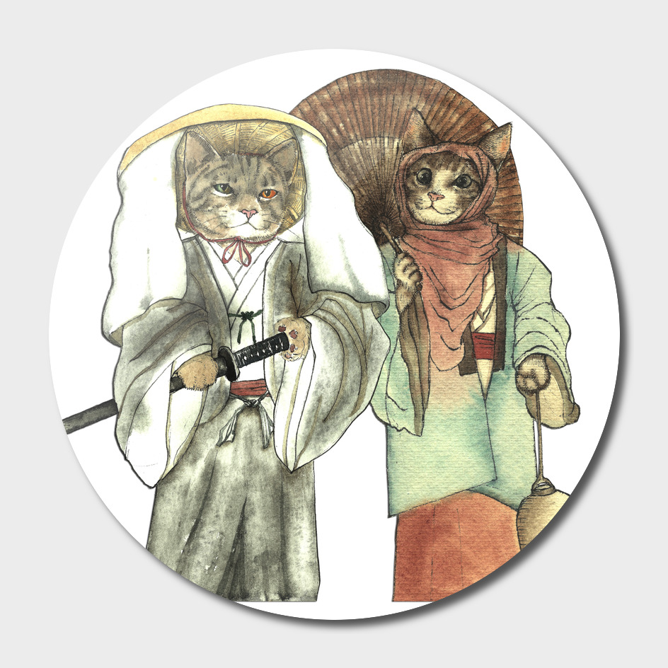 Samurai Cat and Japanese Umbrella Cat with Lantern