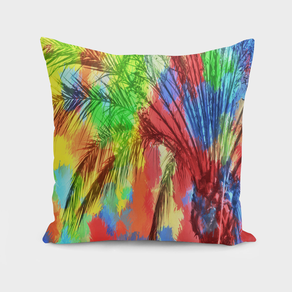 palm tree with splash painting abstract in red green yellow