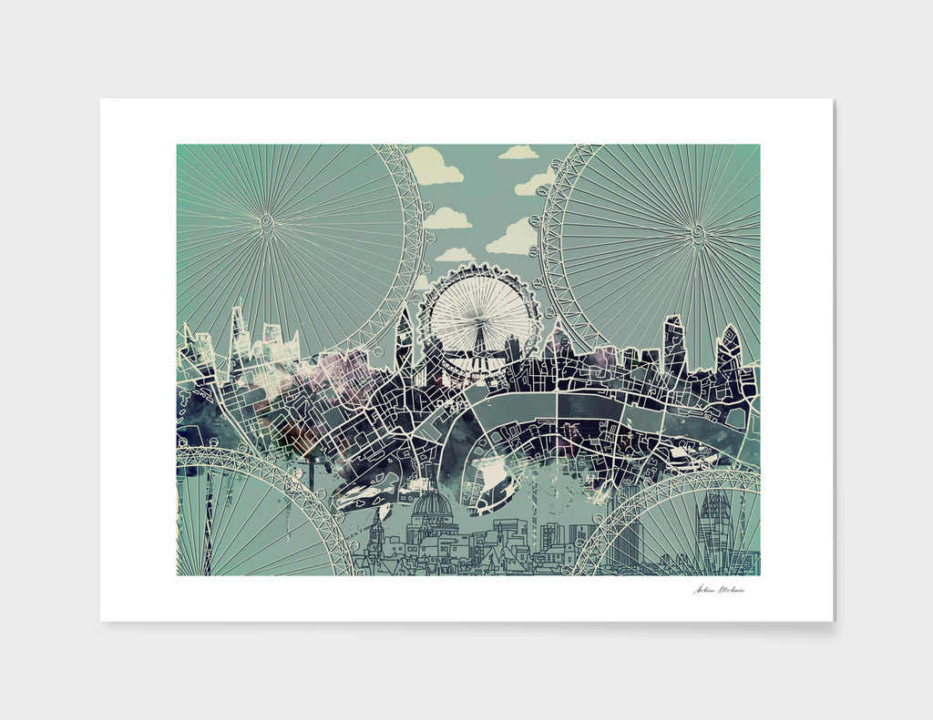 london city skyline vintage 2