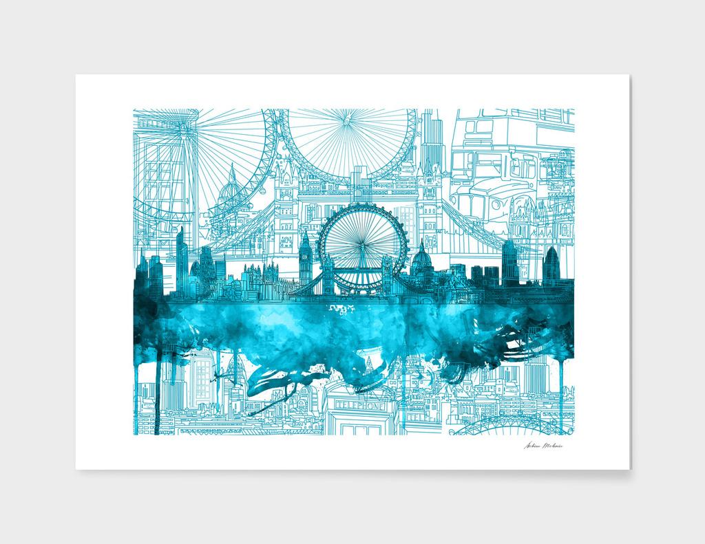 london city skyline vintage 4