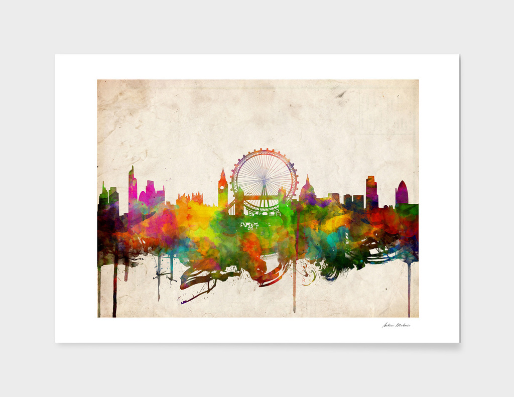 london city skyline watercolor