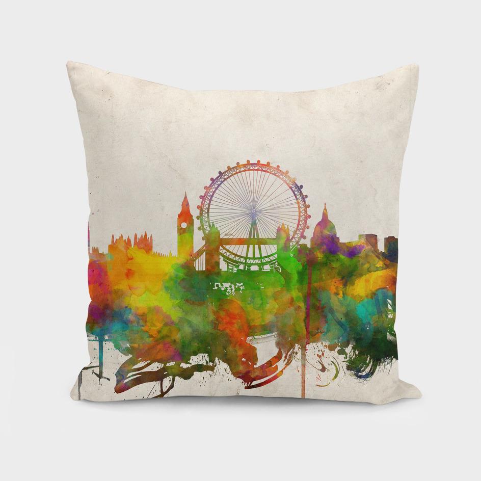 london city skyline watercolor
