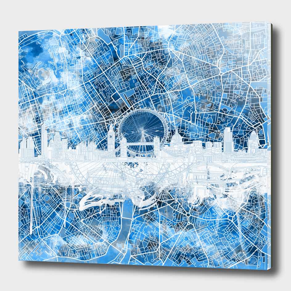 london city skyline abstract blue