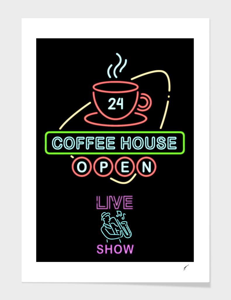 Coffee Poster 96 - Neon Coffee Shop