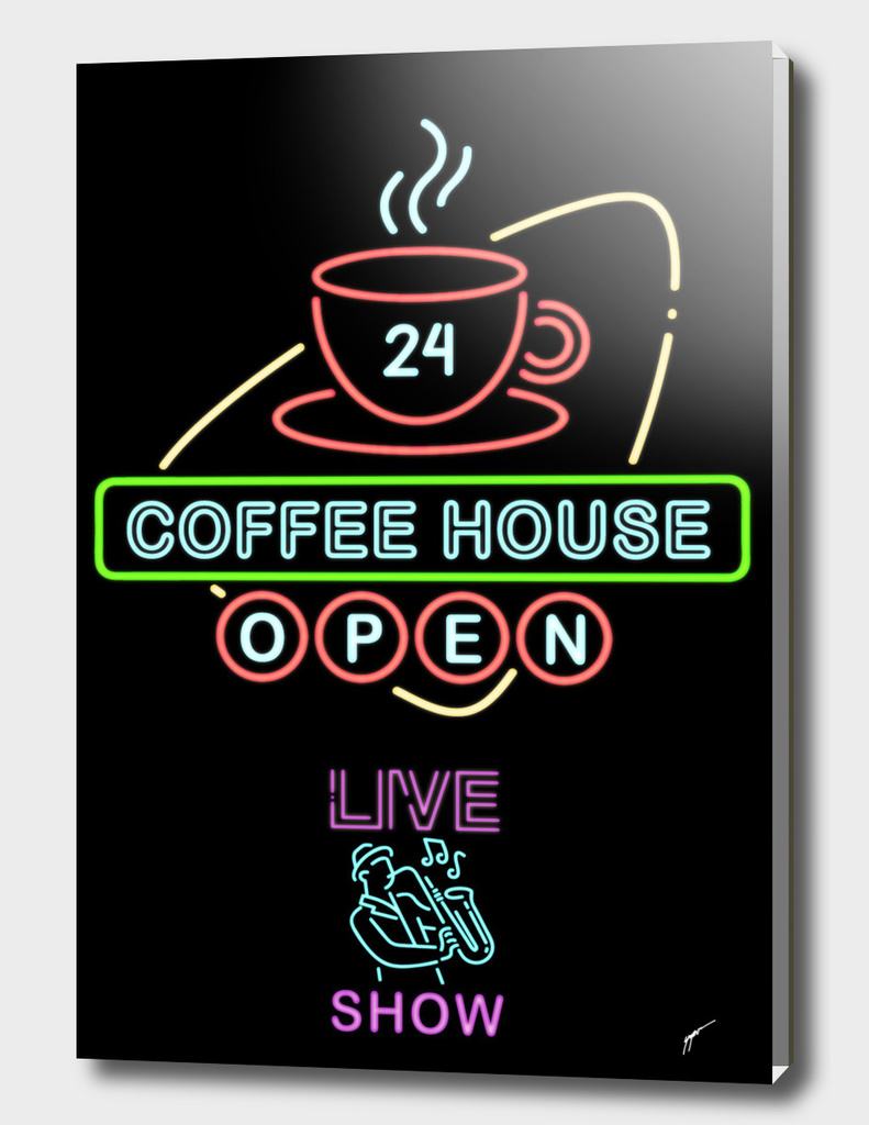 Coffee Poster 96 - Neon Coffee Shop